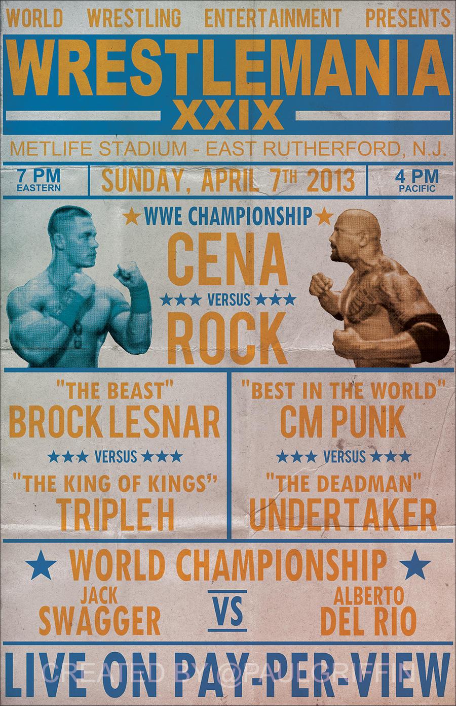 Wrestlemania 29 Vintage Poster by PaulGriffinWrestlemania 24 Poster