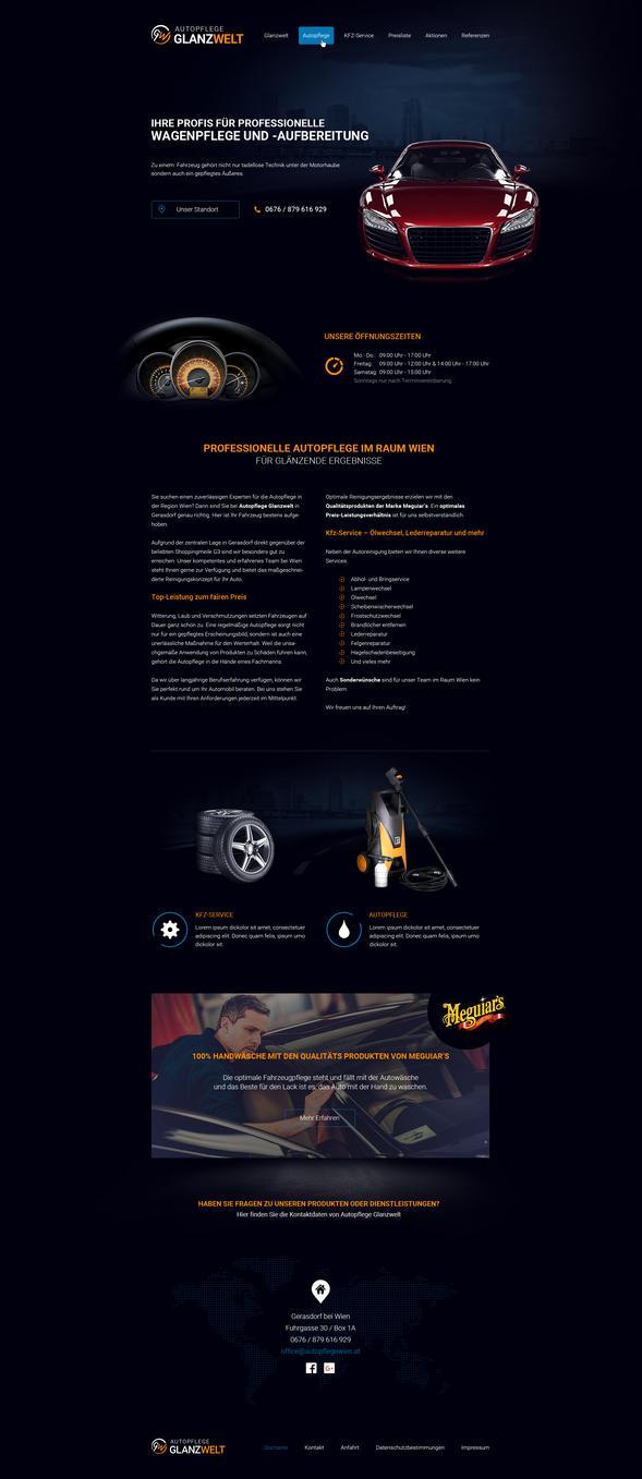 Autopflege Glanzwelt | Carwash Webdesign by crYpeDesign