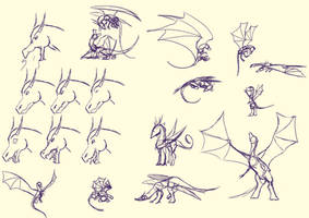 Dragon Poses and Emotions by Hawkheart11