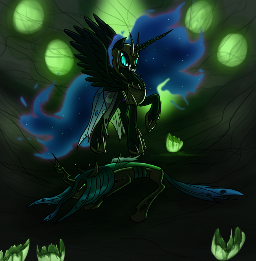 Nightmare Moon vs Chrysalis by ElectricHalo