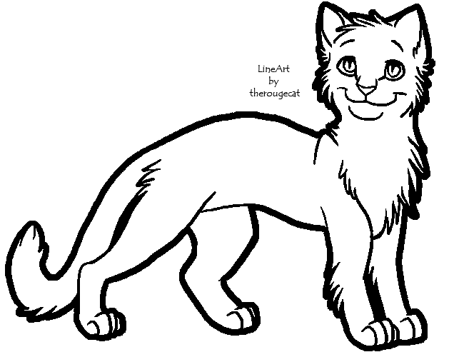 Simple Cat Lineart : Basic male cat lineart by therougecat on deviantart