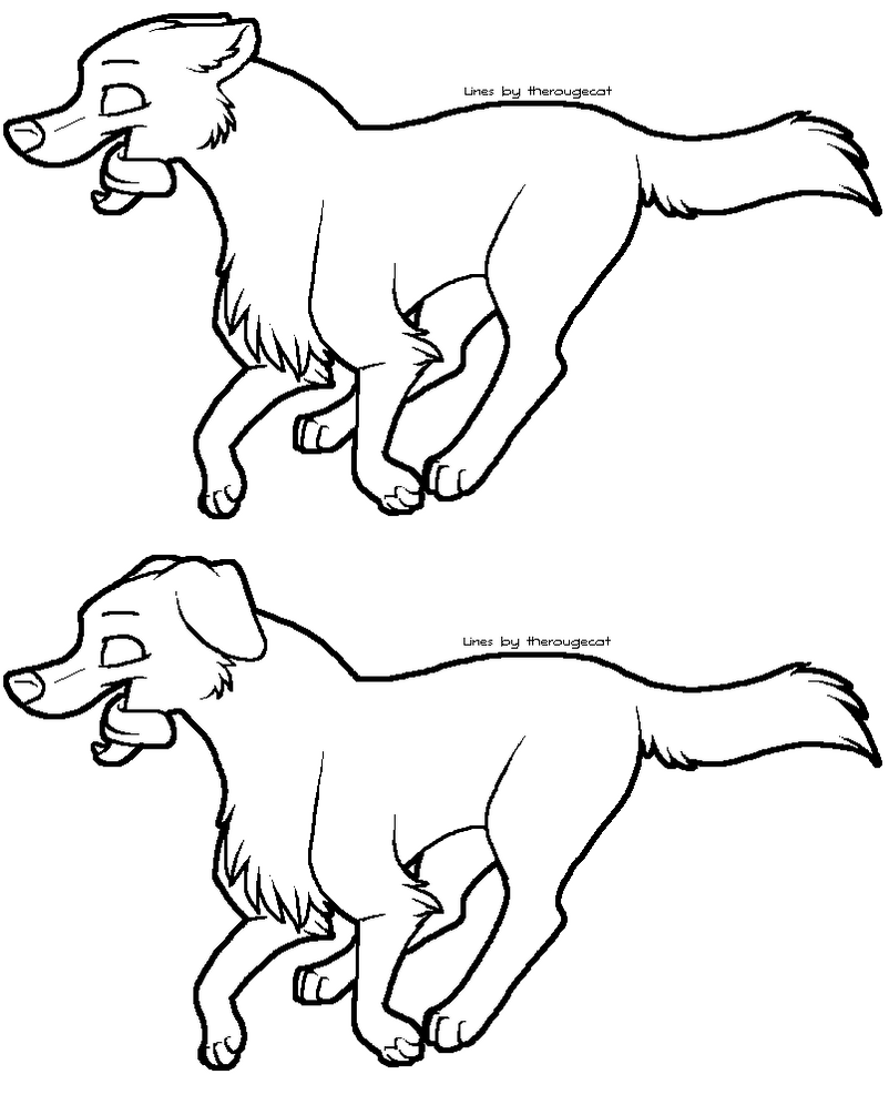 Line Drawing Of Dog : Running dog lineart by therougecat on deviantart