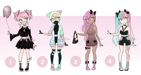 Adoptables 1 - Pastel Punk [CLOSED] by kitstea