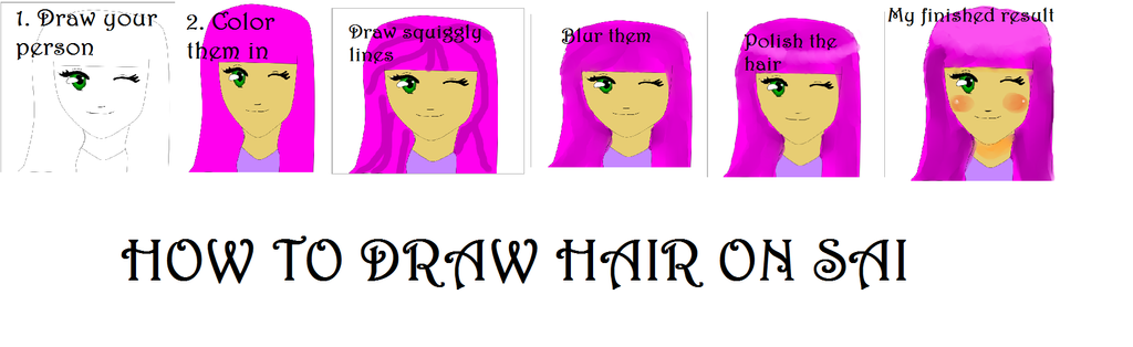 How to draw hair on Paint Tool Sai by AlyssumPetal