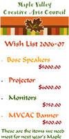 MVCAC Wish List 2006