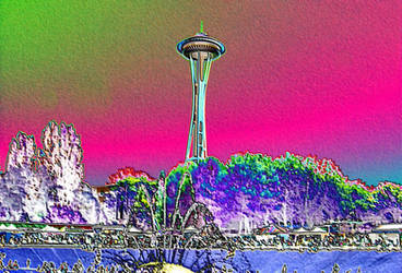Psychedelic Space Needle 1 by infin8yquest