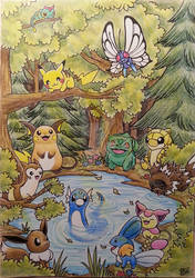 Cute pokemon in a forest