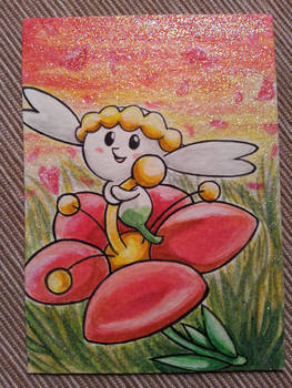 Flabebe in a flowerbed - aceo card