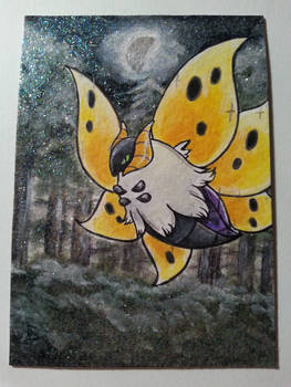Shiny Volcarona in a forest - aceo card