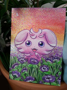 Shiny Espurr in a flowerbed - aceo card