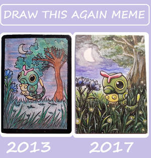 Draw this again meme 2017 Caterpie aceo card