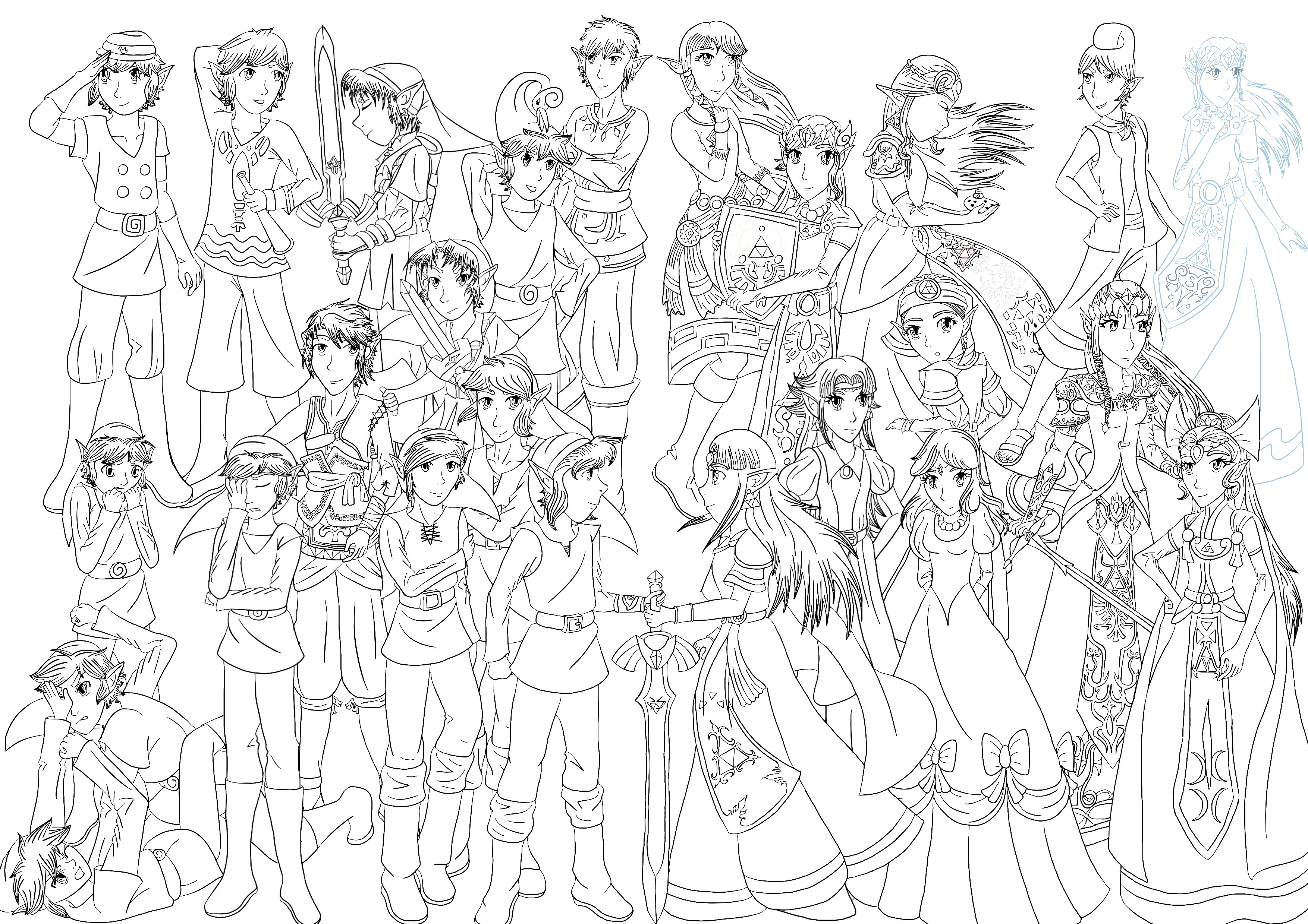 Line Art Zelda : Legend of zelda tribute line art by cessierose on deviantart
