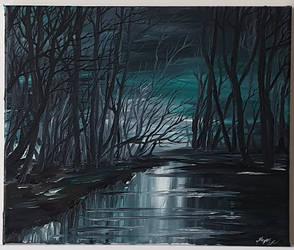 Oil painting- Secretive Forest by Kurai-no-Manazashi