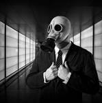 Masked man in black