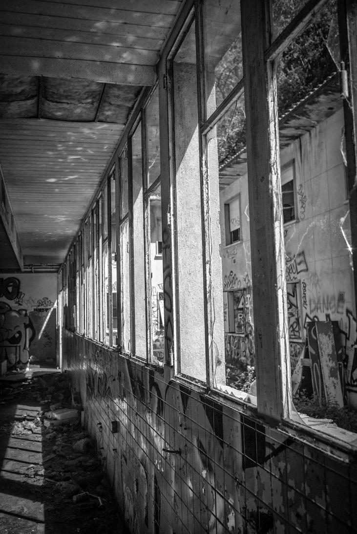 Hall of broken windows by peka-photography