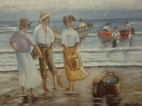 Fishermen at the seaside