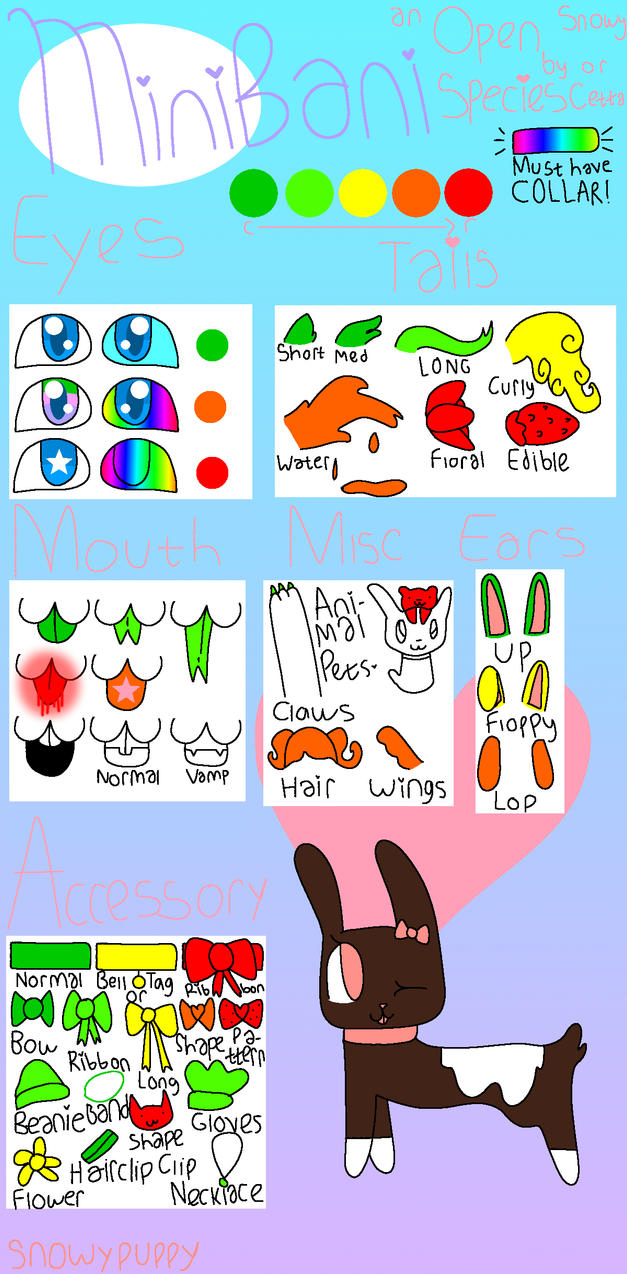 MiniBani Species Guide by snowypuppy