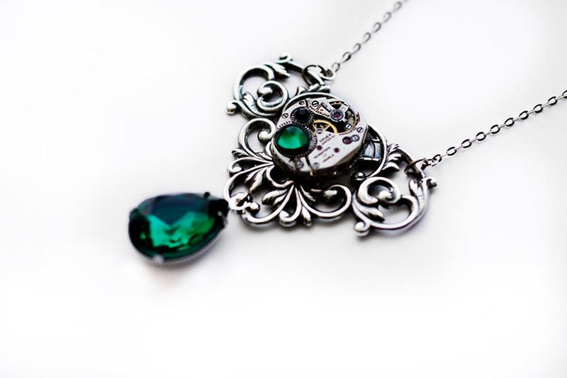 Steampunk victorian pendant with an emerald drop by catarios on steampunk victorian pendant with an emerald drop by catarios aloadofball