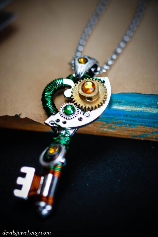 Wormwood - Green and Brass Steampunk skeleton key by Catarios