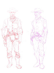 New cowboy drawing. Character design. Full body. by dustinspagnola