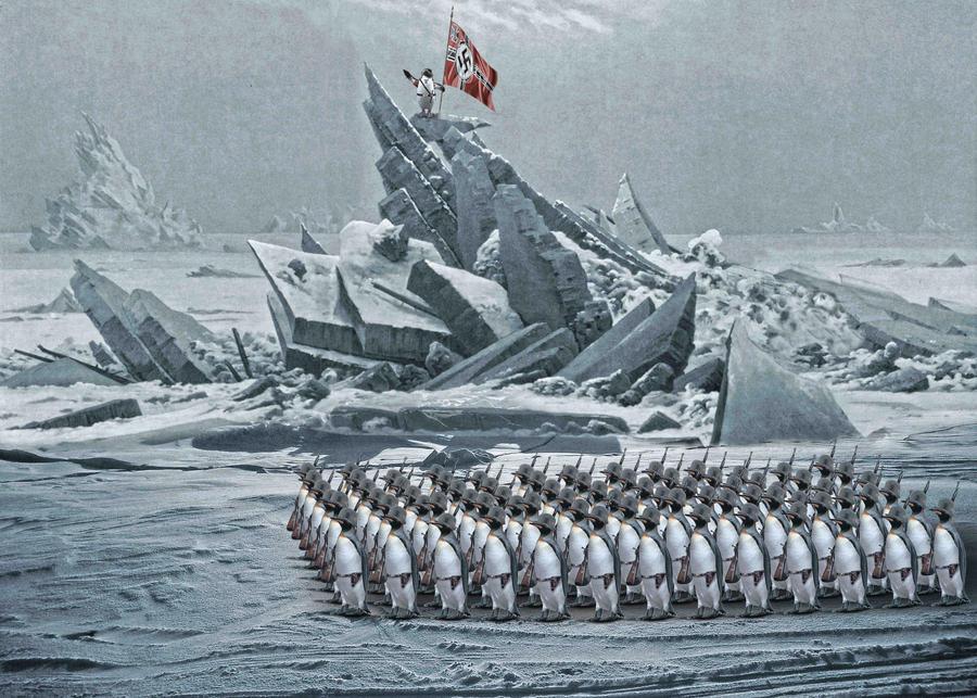 Illustration Penguin Nazis in Antarctica