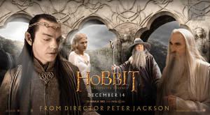 The Hobbit White Council fan quad poster