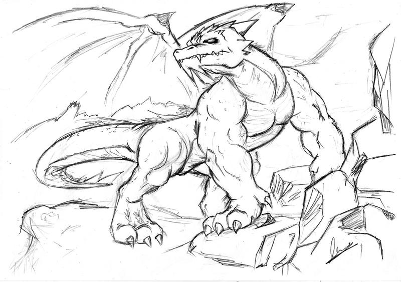 Request 5 - Realistic Dragon by WerewolfMaxDrawings Of Dragons Realistic