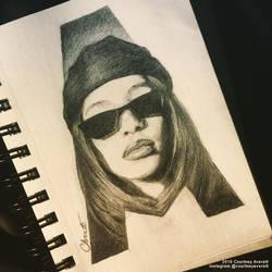Aaliyah Drawing By Courtney Averett