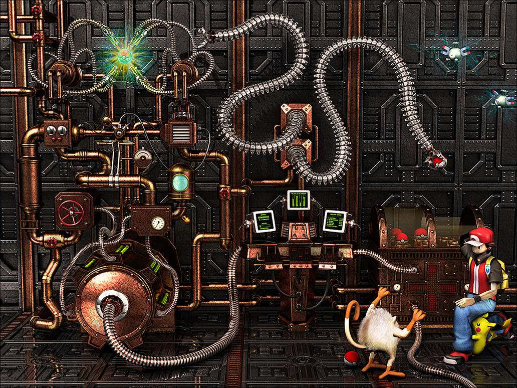 Steampunk Pokemon Center 3D by robbienordgren