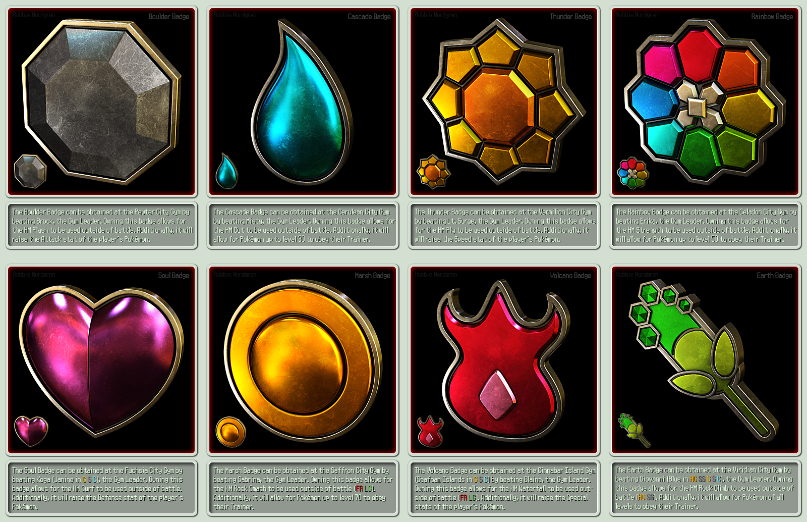 Pokemon Gym Badges 3D - Indigo League, Kanto by robbienordgren