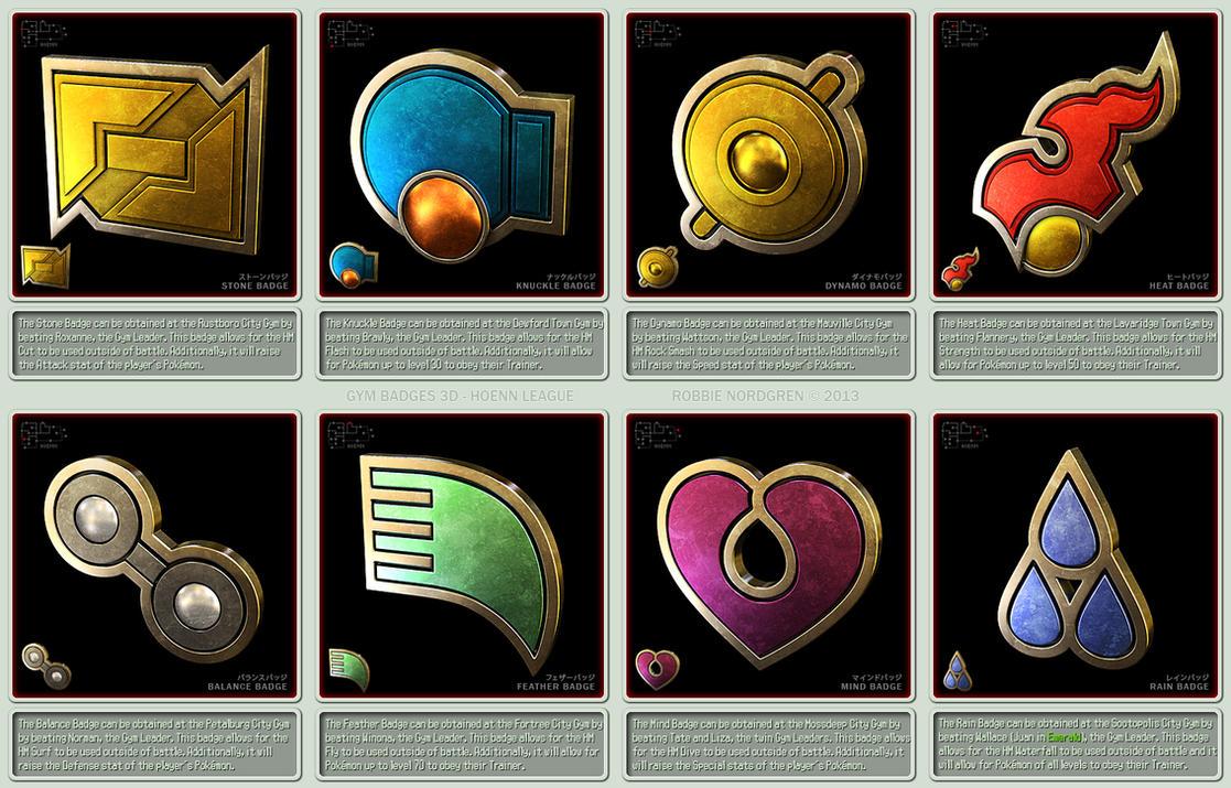 Pokemon Gym Badges 3d Hoenn League By Robbienordgren On Deviantart