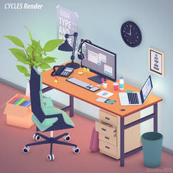 Office workstation in flat colors by DS-DNA
