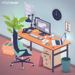 Office workstation in flat colors