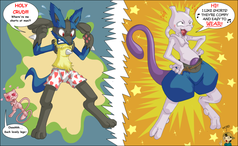Imagenes pokemon graciosas Lucario_and_Mew__And_Mewtwo__by_Cotton_gravy