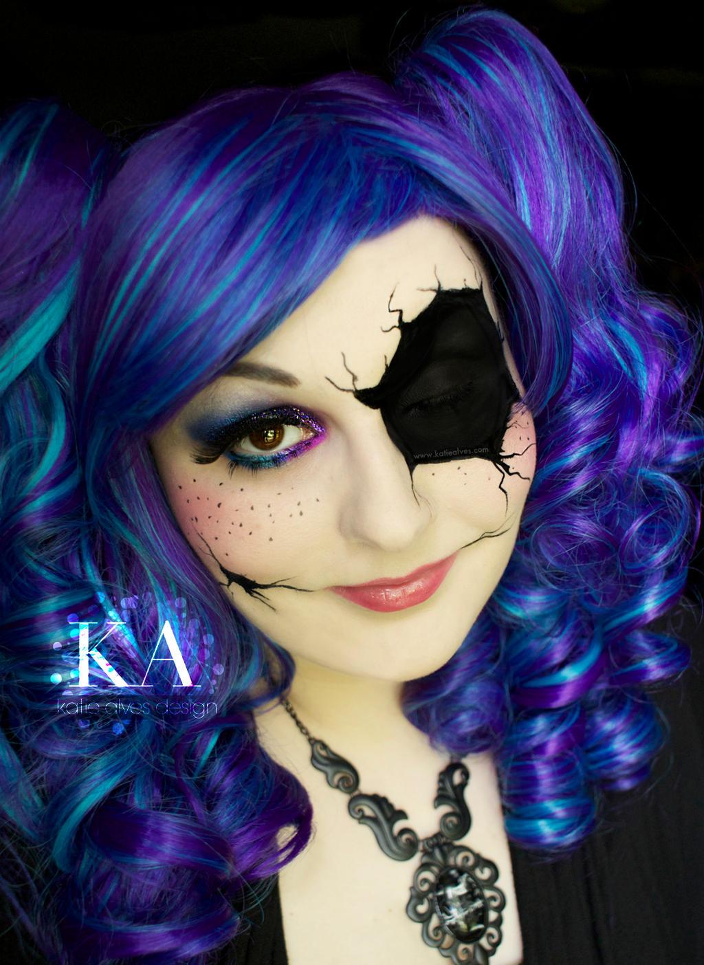 Broken Doll Halloween Makeup with Tutorial by KatieAlves - Pretty Halloween Makeup Tutorial