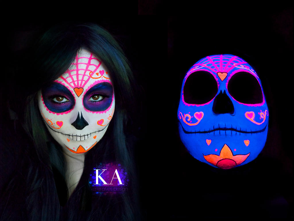 Black Light Sugar Skull with Tutorial by KatieAlves