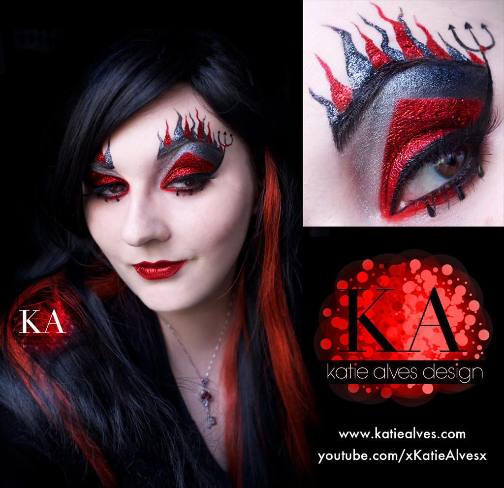 Black light sugar skull with tutorial by katiealves on deviantart devil halloween makeup with tutorial by katiealves baditri Image collections