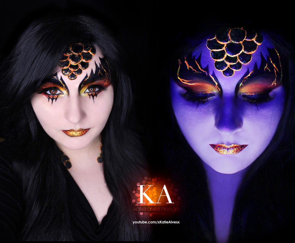 Black Light Dragon (with tutorial) by KatieAlves