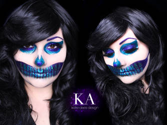 Glitter Skull Halloween Makeup w/ Tutorial by KatieAlves