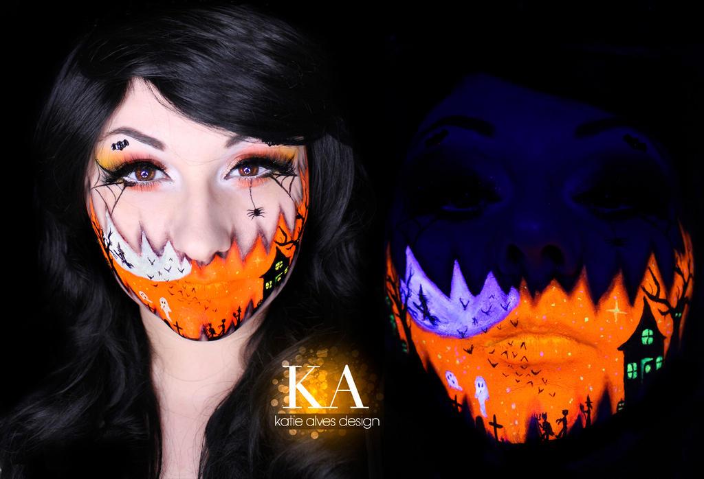 Halloween Grin Black Light Makeup w/ Tutorial by KatieAlves