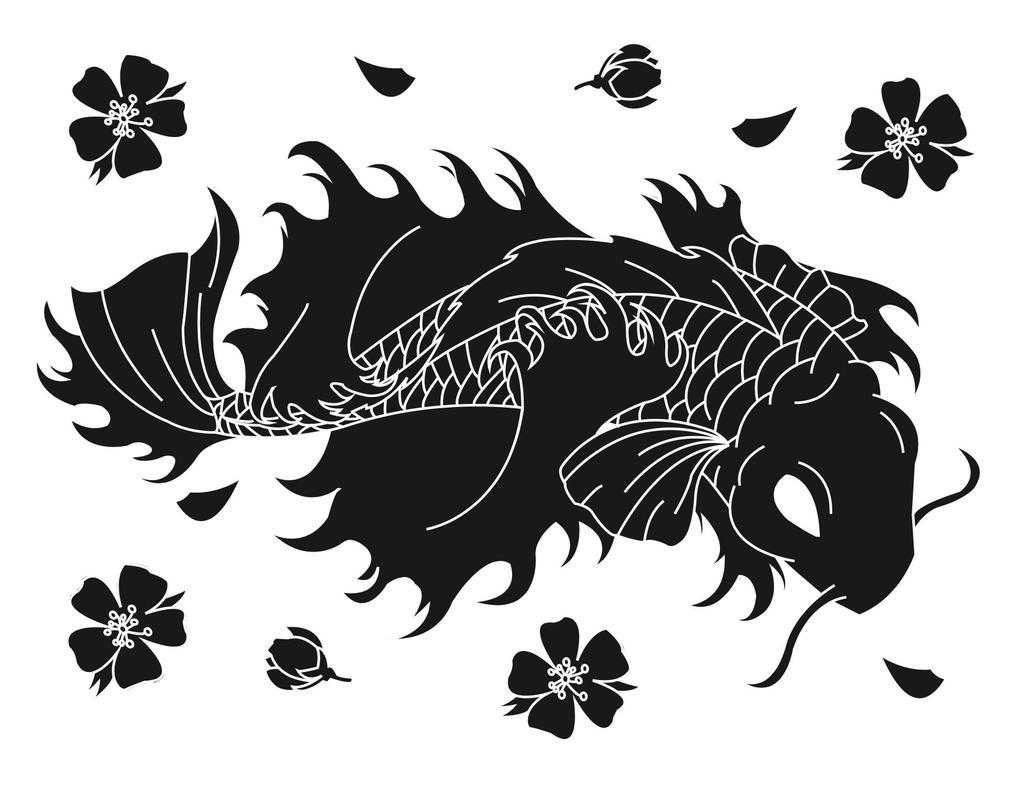 Black and white koi by avril lamean on deviantart for Black and white koi
