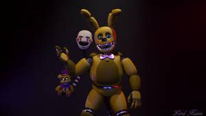 A Rabbit, Puppet, And Plush Bear