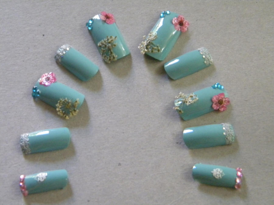 Blue Dried Flowers Nail Art by boomziller on DeviantArt