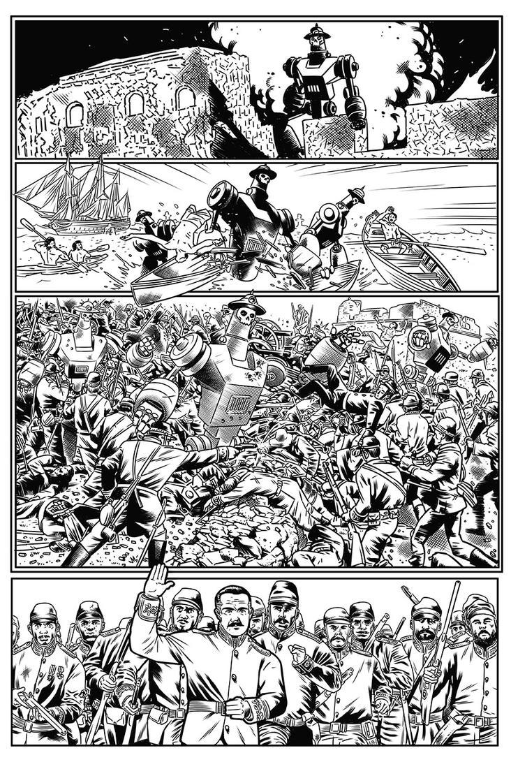 Page 2 inks Monstruos de vapor by miguelangelh