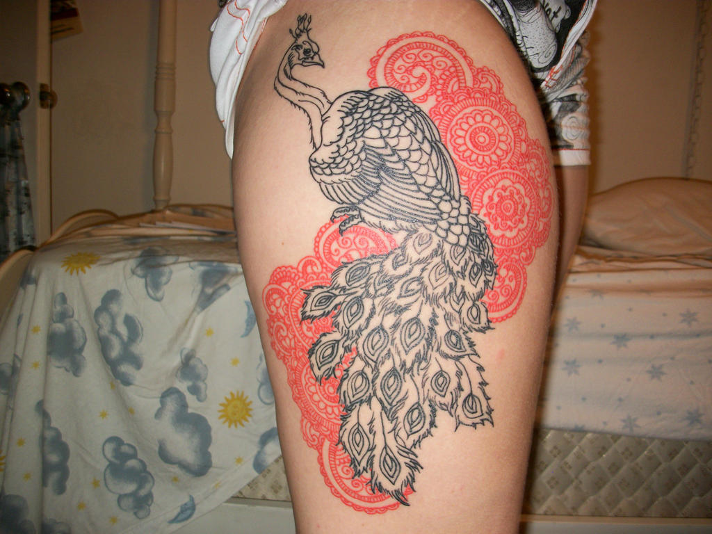 Red peacock tattoo - photo#17