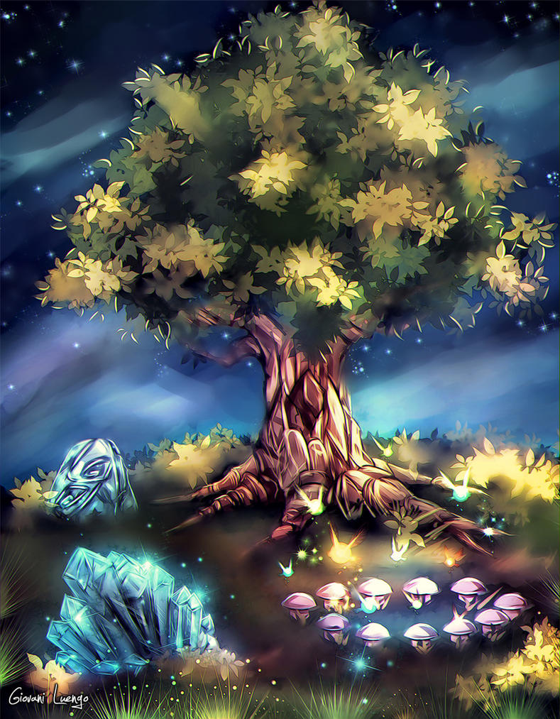 Sacred Tree and Elemental Gates by Glluengo