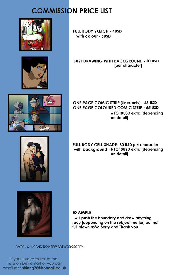 COMMISSION PRICE LIST by sknng