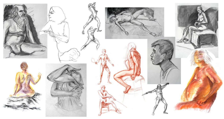 Life Drawing Collage 3 by travelingpantscg