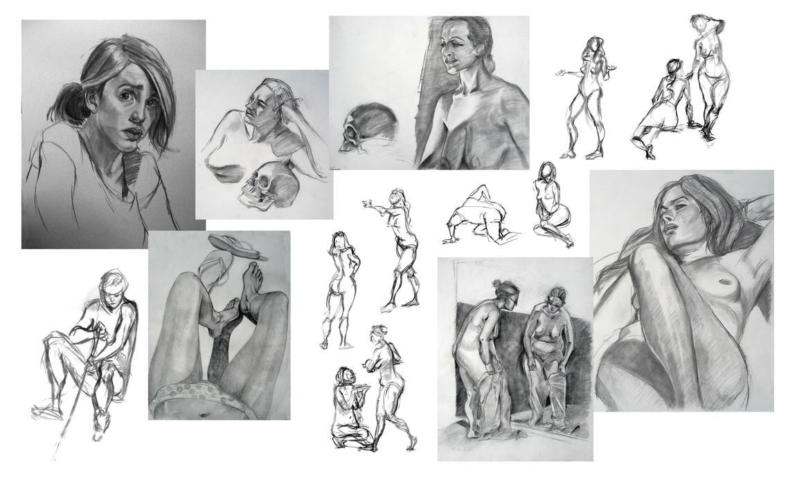 Life Drawing Collage 4 by travelingpantscg