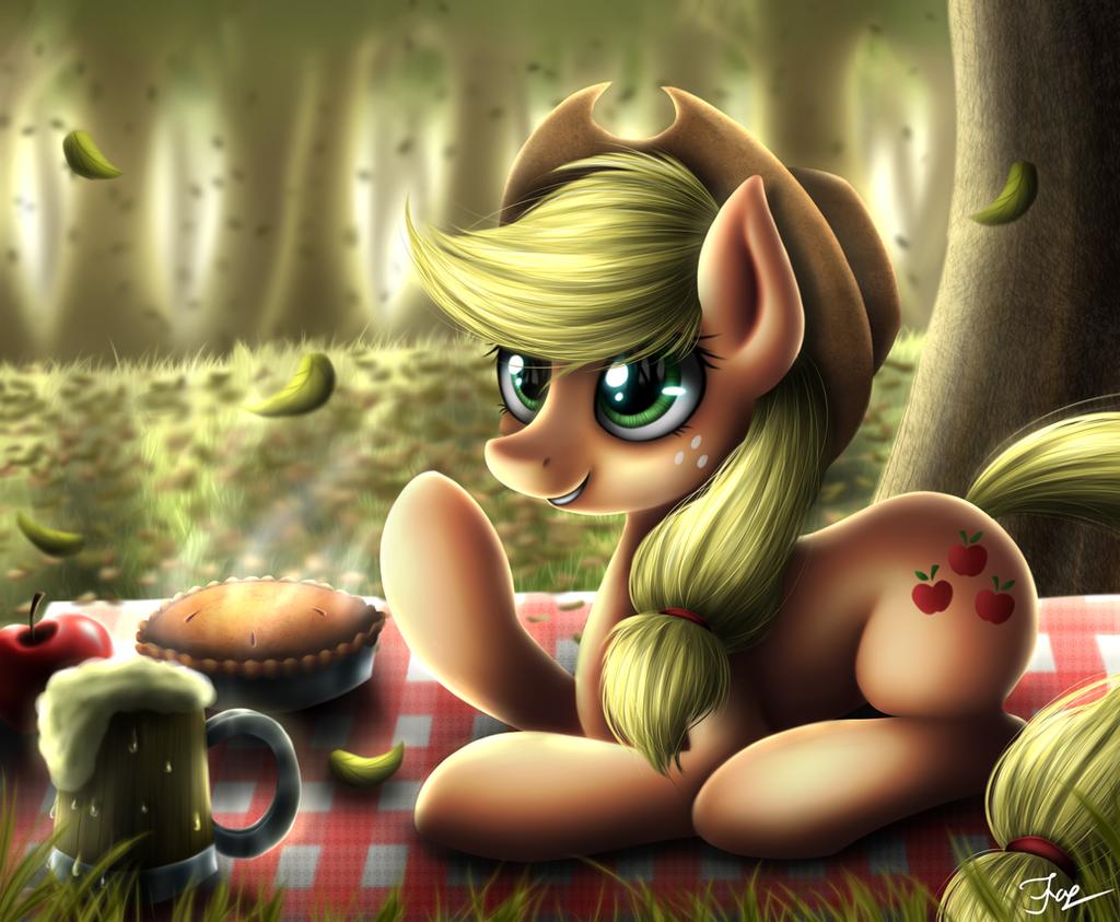 Apple picnic by HoodieFoxy